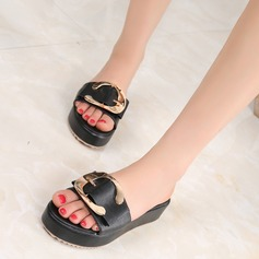 Women's Microfiber Leather Flat Heel Flats Peep Toe Slippers With Buckle shoes