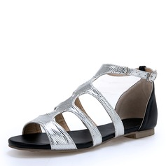 Women's PU Flat Heel Sandals Flats Peep Toe With Buckle shoes