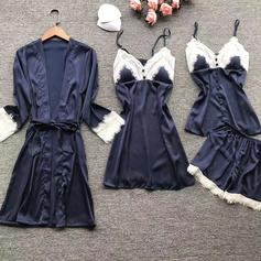 Brud/Feminin Lågmälda Napodobnil Silk Sovkläder Sets