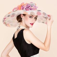 Señoras' Colorido Organdí con Pluma Disquete Sombrero