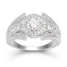 Sterling Silver Cyrkonia Zabytkowe Okrągłe Cięcie Pierścionek zaręczynowy Krążki Obietnica -