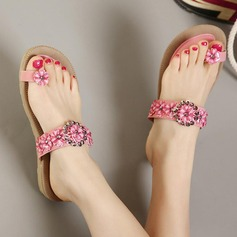 Women's Leatherette Flat Heel Sandals Flats Peep Toe With Rhinestone shoes