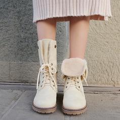 Donna PU Tacco spesso Stivali Stivali altezza media con Allacciato scarpe