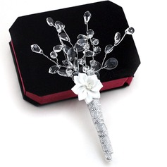Elegant Free-Form Crystal/Artificial Silk Boutonniere/Men's Accessories