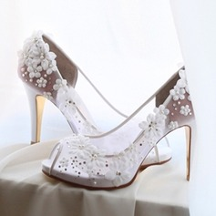 Frauen Mesh Stöckel Absatz Peep Toe Beach Wedding Shoes mit Strass Applikationen