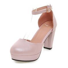 De mujer Cuero Tacón ancho Salón Plataforma zapatos (117125156)