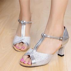 Femmes Similicuir Pailletes scintillantes Talons Latin avec Boucle Chaussures de danse