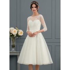 A-Line Illusion Knee-Length Tulle Wedding Dress