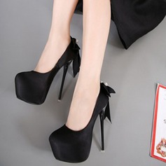 Women's Suede Stiletto Heel Pumps Platform With Bowknot shoes