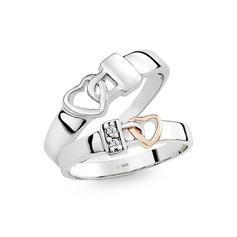 Sterling Silver Serce Pierścienie par - Prezenty Na Walentynki