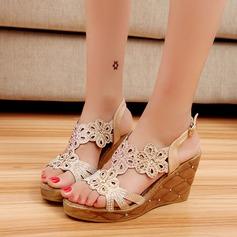 Women's Sparkling Glitter PU Wedge Heel Sandals Wedges Peep Toe Slingbacks With Rhinestone Buckle shoes