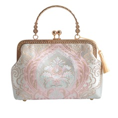 Dumpling Shaped Satin Clutches/Top Handle Bags