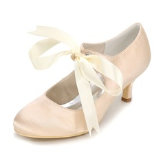 Women's Silk Like Satin Stiletto Heel Pumps With Ribbon Tie (047111530)