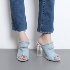 Mulheres Jean Salto robusto Sandálias Bombas Peep toe Sapatos abertos Chinelos sapatos