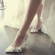 Women's Lace Stiletto Heel Closed Toe Beach Wedding Shoes With Rhinestone Ribbon Tie