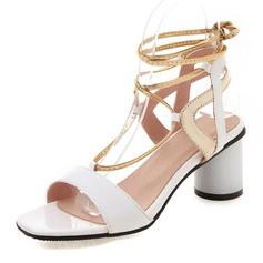 Vrouwen Patent Leather PU Chunky Heel Sandalen Pumps Peep Toe Slingbacks met Vastrijgen schoenen