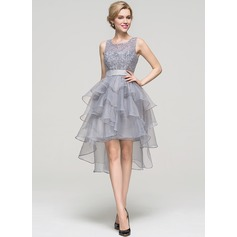 A-Line/Princess Square Neckline Asymmetrical Organza Homecoming Dress With Beading (022093441)