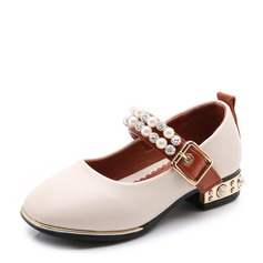 Flicka Stängt Toe konstläder platt Heel Platta Skor / Fritidsskor Flower Girl Shoes med Beading Kardborre