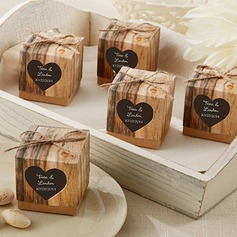 Cubic Kraft paper Favor Boxes With Linen Rope (Set of 12)