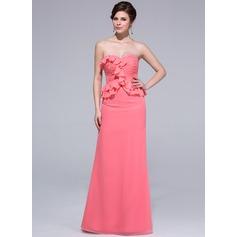Платье-чехол В виде сердца Длина до пола шифон Платье Подружки Невесты с Ниспадающие оборки