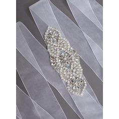Nice Organza Sash With Rhinestones/Imitation Pearls