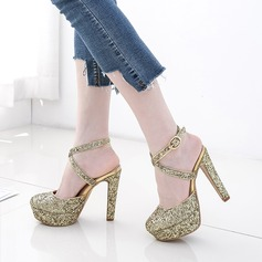 Women's Sparkling Glitter Chunky Heel Flats Platform Closed Toe With Sequin Buckle shoes