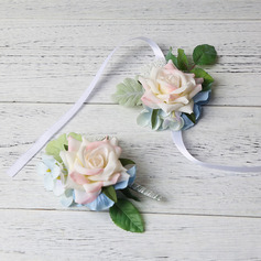 Elegant Free-Form Cloth Flower Sets - Wrist Corsage/Boutonniere