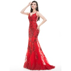 Trumpet/Mermaid Sweetheart Sweep Train Tulle Lace Prom Dresses With Sequins (018105569)