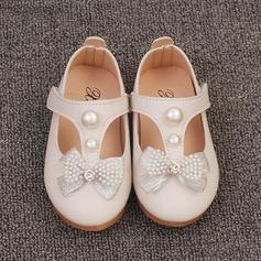 Jentas Lukket Tå Leather flat Heel Flate sko Flower Girl Shoes med Bowknot Imitert Perle Velcro