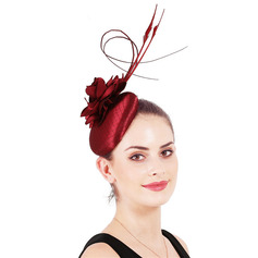 Ladies' Simple/Eye-catching Satin With Feather/Silk Flower Fascinators