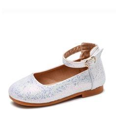 Jentas Lukket Tå Leather flat Heel Flate sko Flower Girl Shoes med Spenne