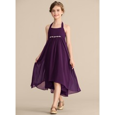 Empire Halter Asymmetrical Chiffon Junior Bridesmaid Dress With Beading Bow(s)