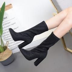 Femmes Tissu Talon stiletto Escarpins Bottes Bottes mi-mollets avec Autres chaussures