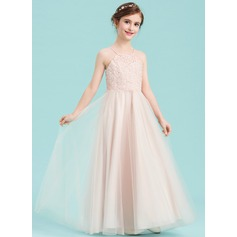 A-Line Square Neckline Floor-Length Tulle Junior Bridesmaid Dress With Beading