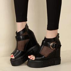 Frauen Kunstleder Stoff Flache Schuhe Peep Toe mit Schnalle Reißverschluss Schuhe