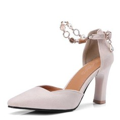 Women's Suede Chunky Heel Pumps Closed Toe With Rhinestone shoes