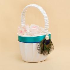 Элегантные Цветочная корзина в Атлас с Перлы ложный/перья