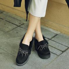 Frauen Veloursleder Flascher Absatz Flache Schuhe Geschlossene Zehe mit Quaste Schuhe