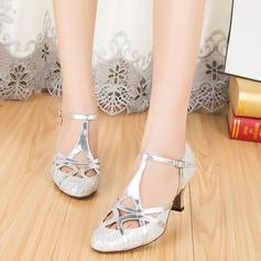 Kvinder Mousserende Glitter Hæle sandaler Bal med T-Strop Dansesko