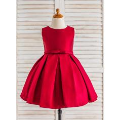 Vestidos princesa/ Formato A Coquetel Vestidos de Menina das Flores - Cetim Sem magas Decote redondo com Pregueado