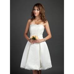 Vestidos princesa/ Formato A Sem Alças Coquetel Cetim Vestido de noiva com Pregueado