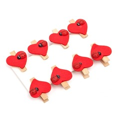Heart Shaped Wooden Clips (Set of 8)