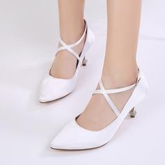 Women's Silk Like Satin Stiletto Heel Closed Toe Pumps With Buckle Rhinestone