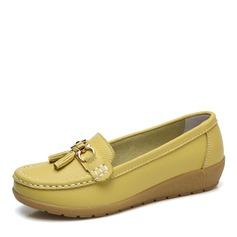 Kvinner Lær Lav Hæl Flate sko Lukket Tå med Spenne sko