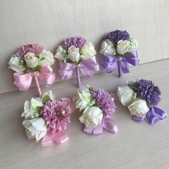 Free form Lino seta Polso corsage/Fiore all'occhiello - Polso corsage/Fiore all'occhiello