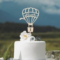 Personlig Födelsedag/Luftballong Akryl/Trä Tårtdekoration