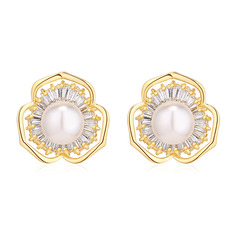 Ladies' Shining Copper/Zircon/Imitation Pearls Imitation Pearls Earrings For Bridesmaid/For Mother/For Couple