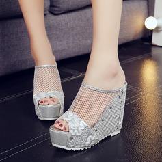 Женщины сетка Вид каблука Сандалии Танкетка Тапочки с Другие обувь