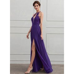 A-Line/Princess Scoop Neck Floor-Length Chiffon Evening Dress With Lace Split Front (017116329)