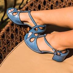Vrouwen Kunstleer PU Chunky Heel Pumps Closed Toe met Gesp Hol-out schoenen